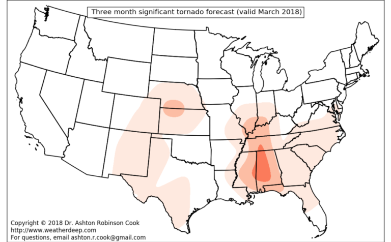 Extended range forecasts of the March 2018 Alabama tornadoes